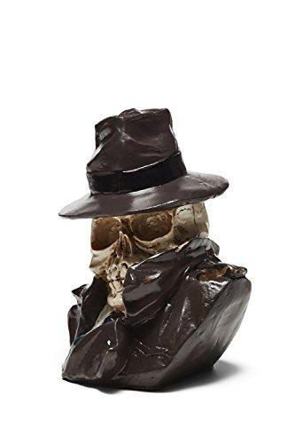Noir Vintage Hat - La Mascarade Skull Holder Skeleton Statuette Figurine Scary Halloween Spooky Death Male Macho (Ivory, Black, Noir)