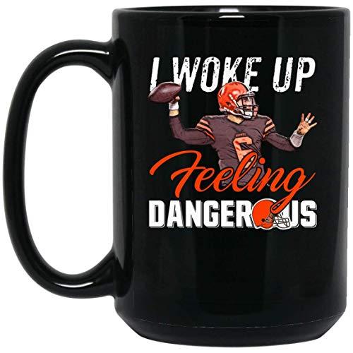 (CLEVELAND BROWNS I WOKE UP FE 15 oz. Black Mug Meaning Present For son Friend People who Love Basketball Lively Image.)