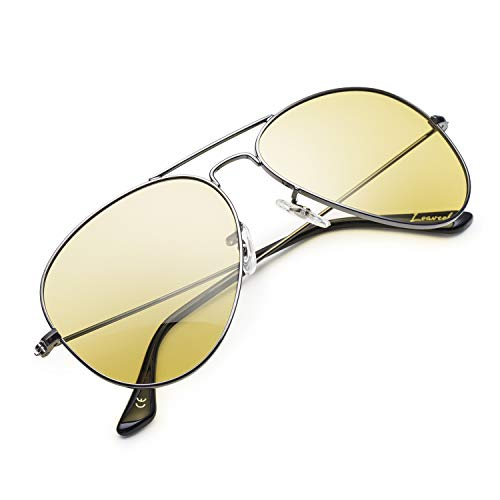 Night Driving Glasses, Classic Aviator Polarized Yellow Lens Sunglasses for Men Women (Gunmetal/Yellow, ()
