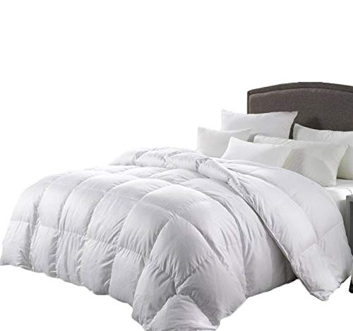 50 Percent Blanket - LUXURIOUS King Size 1200 Thread Count Goose Down Alternative Comforter, 100 Percent Egyptian Cotton, 1200 TC, 750FP, 50Oz, Solid White Down Alt Comforter
