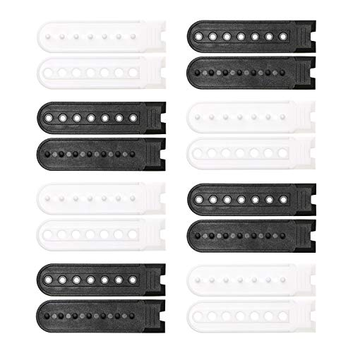 Penta Angel 8 Pairs Black & White Plastic Snapback Strap with 7 Holes Hats Caps Replacement Fastener Repair Snap Buckle Strap (Black and ()