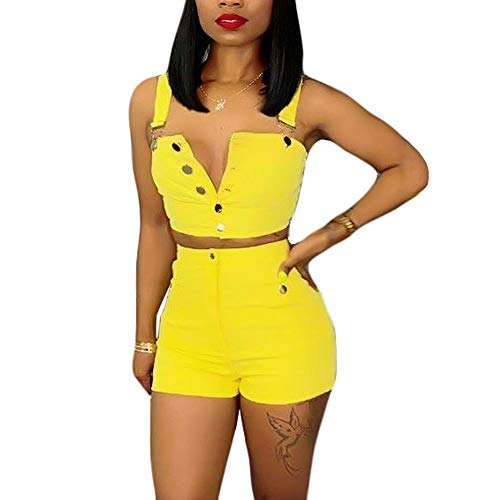 2 Piece Pant Set Denim - acelyn Women's Denim Shorts Set Bodycon Tank Crop Tops + Short Pants 2 Piece Jean Rompers Outfits Yellow Medium