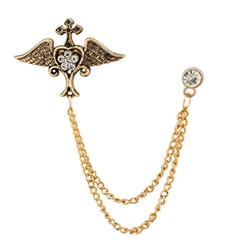 Knighthood Men's Exclusive Winged Heart with Swarovski/Lapel Pin/Brooch - Brooch Heart Golden