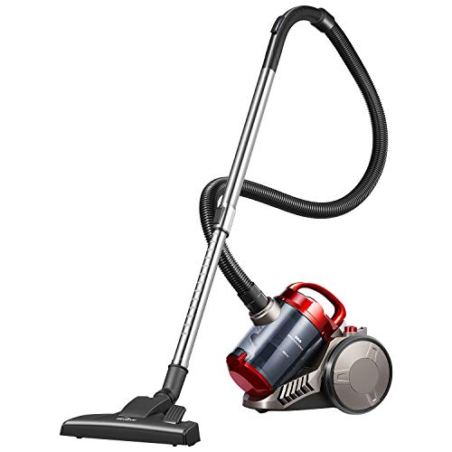 Kealive Bagless Canister Vacuum, 18Kpa 1200W HEPA Cyclone Vacuum Cleaner, 2.5 Liter Dual Eexhaust (Red1)