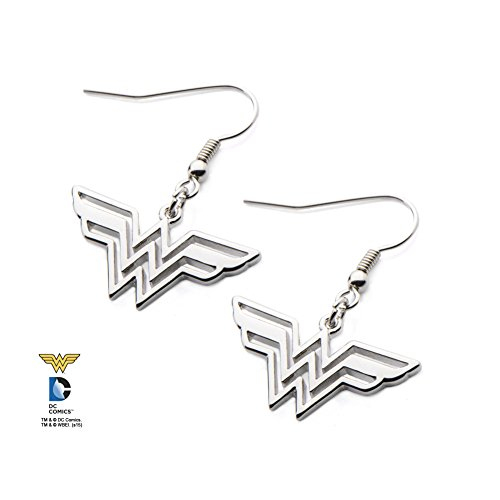 DC+Comics Products : Licensed DC Comics Wonder Woman Logo 316L Stainless Steel Hook Dangling Earrings (with Gift Box)