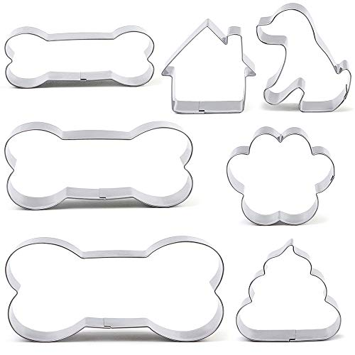 BakingWorld Dog Cookie Cutter Set - 7 Piece - Dog,Paw Print,Dog House,Dog Droppings and Dog Bone Biscuit Cookie Mold for Homemade Treats - Stainless Steel Dog House Cookie Cutter