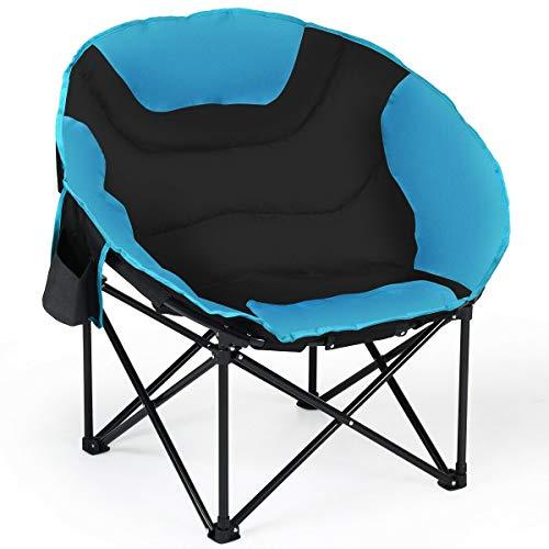 Dayanaprincess Moon Saucer Steel Camping Chair Folding Padded Seat Cozy Indoor Outdoor Furniture Foldable Dorm Backyard Balcony Garden Patio Lawn Seating (Garden Furniture Luna)