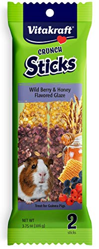 Guinea Pig Fruit Sticks - Vitakraft Guinea Pig Wild Berries & Honey Treats Sticks Glazed With Yogurt 2 Pack, 3.75 Ounce