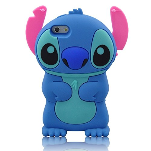 Modal Cute Movable Ear Flip Stitch & Lilo Silicone Cover Case for Iphone 5 (BLUE) 5 Silicone Silicon Case
