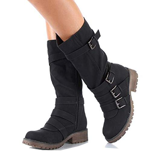 GIY Womens Winter Snow Boots Mid Calf Slouchy Boot Dress Shoes High Tube Flat Riding Winter Boots -