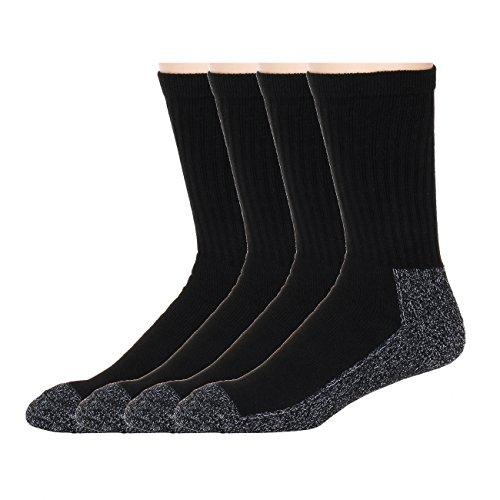 American Sport Men's Heavy Duty Black Reinforced Crew Socks 4 pair pack Men's 10-13 (Large)