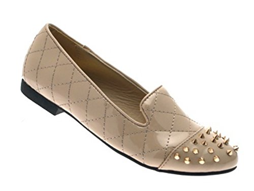 STUDS WOMENS PUMPS Outlet SPIKE MUKES LD 3 Patent NEW GIRLS STUDDED Nude LADIES FLATS SHOES 8 LOAFERS BALLET SLIPPERS EXg4q