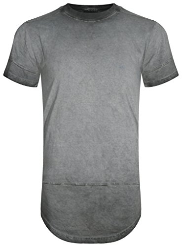 UPSCALE Mens Washed Garment Dyed Longline T-Shirt GRAY L