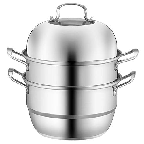 Layer Steamer - XL Stainless Steel 3-Tier/Layer Steamer cooking pot, Rice cooker, Double Boilder, stack, steam soup pot and steamer. Visible cover, work with Gas, Electric,and Grill stove top (Jumbo 32cm)