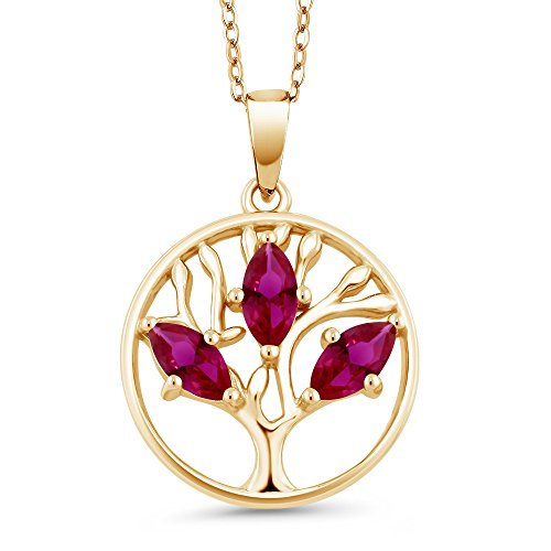 Gem Stone King 0.75 Ct Red Created Ruby 18K Yellow Gold Plated Silver Tree of Life Pendant With Chain