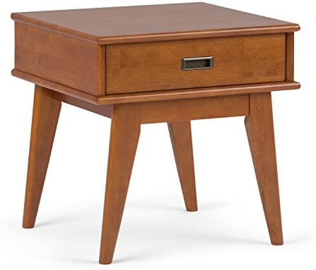 Simpli Home Draper Solid Hardwood 22 inch wide Rectangle Mid Century Modern End Side Table in Teak Brown with Storage, 1 Drawer, for the Living Room and Bedroom