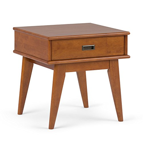 Simpli Home Draper Mid Century, End Table, Teak Brown For Sale