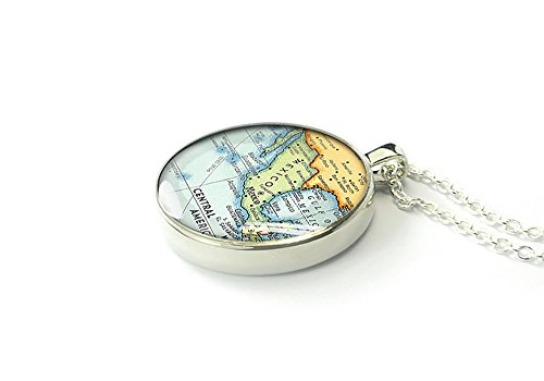 Handmade silver 1937 Mexico map necklace jewelry – gift for grandma – 1 inch diameter
