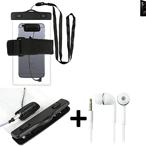 Estuche estanco al agua con entrada de auriculares para Meizu Pro 7 + auricular incluido, transparente | Trotar bolsa de playa al aire libre caja brazalete del teléfono caso de cáscara bajo playa - K-