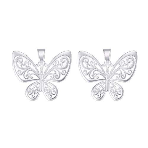 (SUNNYCLUE 1 Box 2pcs 925 Sterling Silver Plated Filigree Butterfly Charm Pendant Connector 47.5x56x3mm for DIY Jewelry Making Findings Accessories)
