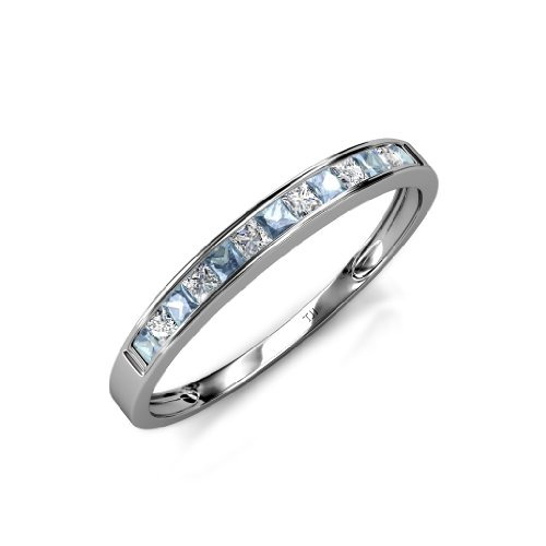 Aquamarine and Diamond Princess Cut Channel Set Wedding Band 0.65ct tw in 14K White Gold.size 5.0