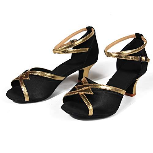 Gamuza Zapatos Salsa Mujer Negro Latino 7cm 5cm tacon Baile Suela Wzsp805 Para De Tacón Hipposeus Modelo qPYaTxnn