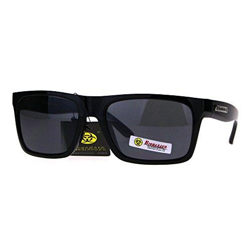Biohazard Mens Narrow Rectangle Horn Rim Plastic Skater Shade Sunglasses All - Glasses Skater