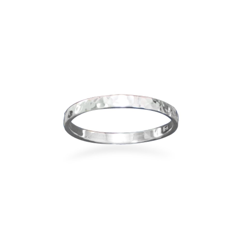 Hammered Sterling Silver Band Ring Polished 1.7mm Wide Stackable, Size 7