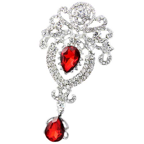 Holrea Luxury Crown Waterdrop Crystal Rhinestone Brooch Pin Wedding Creative Pendant Charm Brooch Femme Breastpin Clothes Scarf Sweater Decors Jewelry Gift for Women Girls Red