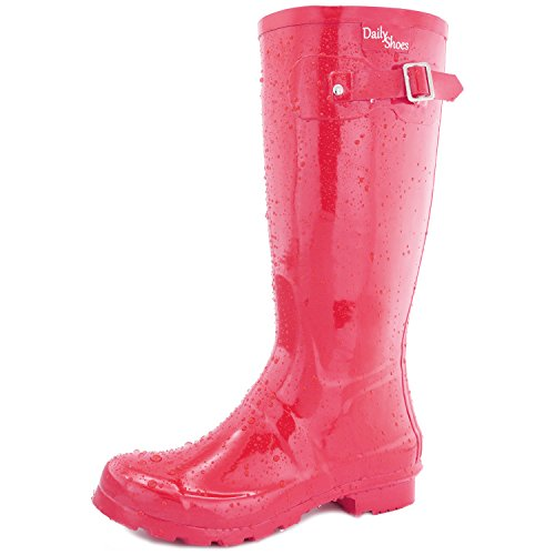 DailyShoes Women's Mid Calf Knee High Hunter Rain Round Toe Rainboots Red