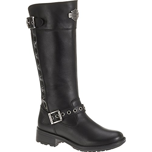 "Harley-Davidson Womens Annadale 13"" Motorcycle Boot Black Leather D83773 6.5"
