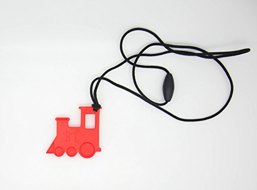 Bestie Toys Train Sensory Chew Necklace(1Pack) RED- Chewelry For Boys & Girls With Autism SPD ADHD Oral Motor Chewing Biting Teething Stimming Needs |Stress Relief | Sensory Oral Motor Aid (RED)