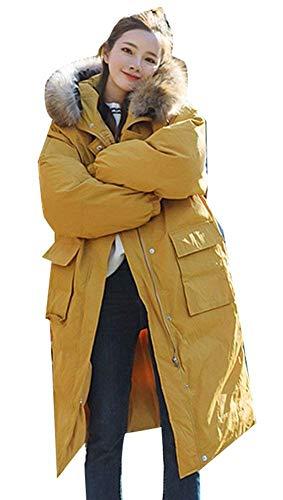 Con Relaxed Acolchado Battercake Largo Elegantes Largas Outerwear Parkas Mujeres Piel Color Casuales Caliente Manga Gelb Capucha De Transición College Sólido Simplemente Mujer Abrigo Moda Invierno 7Ur7X