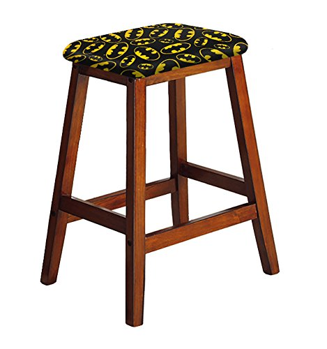 """- 1-27"""" Tall Wood Saddle Bar Stool in an Oak Finish Featuring Your Choice of a Novelty Theme Fabric Covered Padded Seat Cushion (Batman Logo)"""