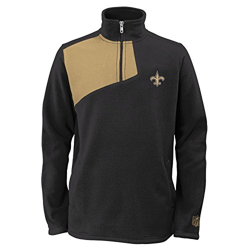 OuterStuff New Orleans Saints Youth 1/4 Zip Microfleece Pullover Jacket (S) (Saints Orleans Jacket Pullover New)