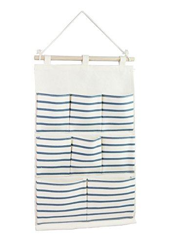 Tandi Linen/Cotton Fabric Wall Door Closet Hanging Storage Bag Case 8 Pockets Home Organizer Blue Strips (Closet Wall Hanging)