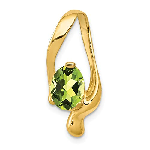 - 14K Yellow Gold 8x6mm Oval Peridot Slide Pendant from Roy Rose Jewelry