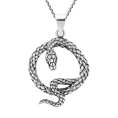 (AeraVida Edgy Serpent Coiled Snake .925 Sterling Silver Pendant Necklace)