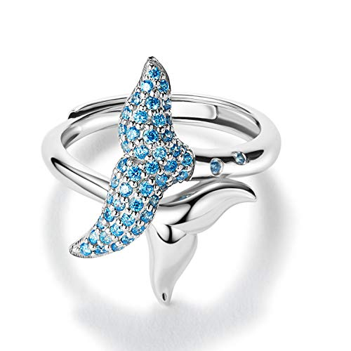 (Cute Rings for Teen Girls Blue Mermaid Sterling Silver Women Adjustable Open Rings with Diamond Birthstone 18K White Gold Plated Statement Finger Fashion Summer Animal Beach Friendship Jewelry Gift)