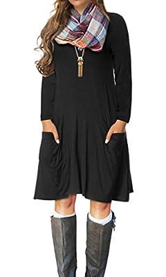 VERABENDI Women's Casual Long Sleeve Loose Pocket Dress