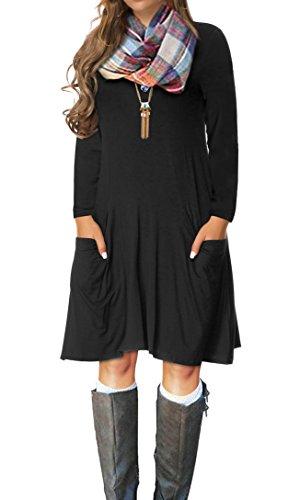 VERABENDI Women's Casual Long Sleeve Loose Pocket Dress Black 2XL (Boots Sweater Dresses)