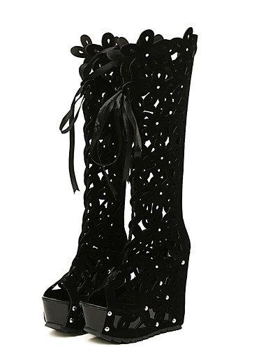 GGX/ Damenschuhe-High Heels-Lässig-Vlies-Keilabsatz-Wedges-Schwarz / Weiß black-us5.5 / eu36 / uk3.5 / cn35