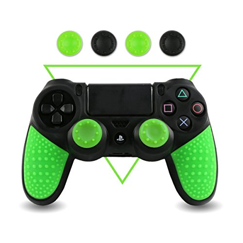 LZETC Silicone Case for PlayStation 4 Controller Skin, with Matching Thumb Grips, 2 Sets Black & Green