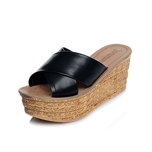 HAIZHEN à CN38 femmes 5 Sandales Femmes talons 7cm Black 5 Pour Couleur Pu chaussures couleurs de mode UK5 taille Black pantoufles pour d'été EU38 pu hauts femmes avec rSqwrTx4Wv