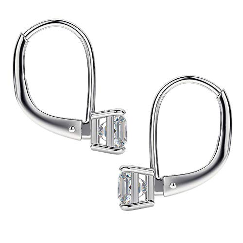 MIA SARINE Square Princess Cut Cubic Zirconia Drop Dangle Leverback Bridal Earrings for Women in Rhodium Plated Brass (White)