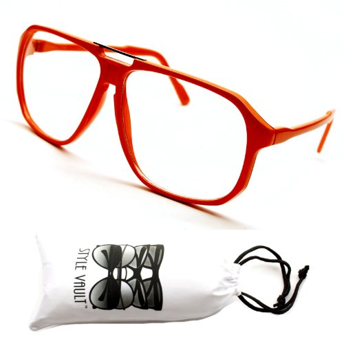 E02-vp Aviator Turbo Vintage Retro 70s Clear Sunglasses Eyeglasses (Orange-clear, - 70s Eyeglasses
