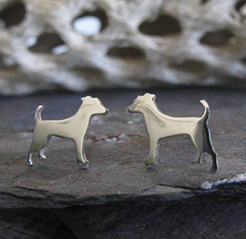 Jack Russell Terrier stud earrings. Polished sterling silver tiny dog jewelry. Handmade in the USA. (Terrier Jewelry Earrings)