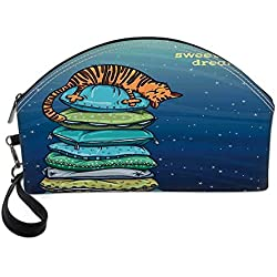 Cat Small Portable Cosmetic Bag,Tabby Kitten Sleeping Over on a Tower of Colored Pillows in Starry Night Sweet Dreams Print For Women,Half Moon Shell Shape One size