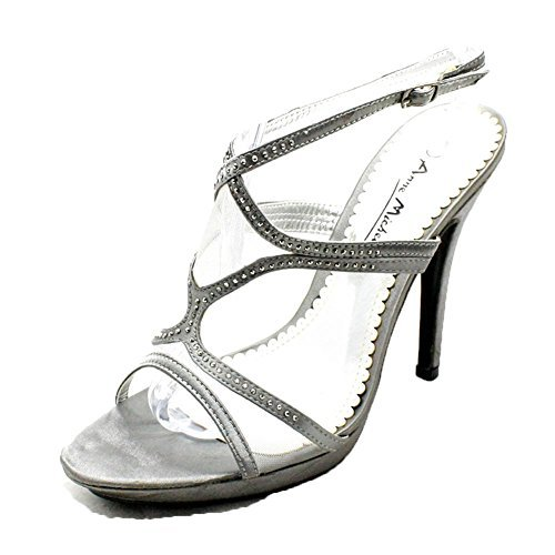 Ladies diamante studded high heel ankle strap party shoes Pewter PKrtzz