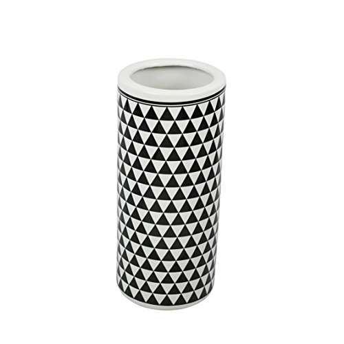 Sagebrook Home 12464-04 Ceramic Umbrella Stand, 7.75 x 7.75 x 18 Inches, White/Black Contemporary Umbrella Stand